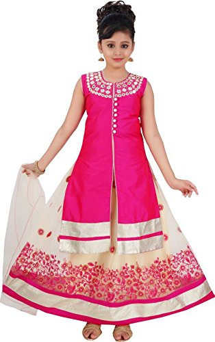 Saarah Girls Ethnic Wear Pink Color Self Design Lehenga, Choli and Dupatta...