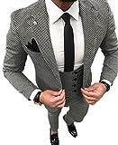 YSMO Herren Slim Schwarz Check 3 Stück Anzüge One Button Blazer Jacke & Weste & Hose Abendkleid