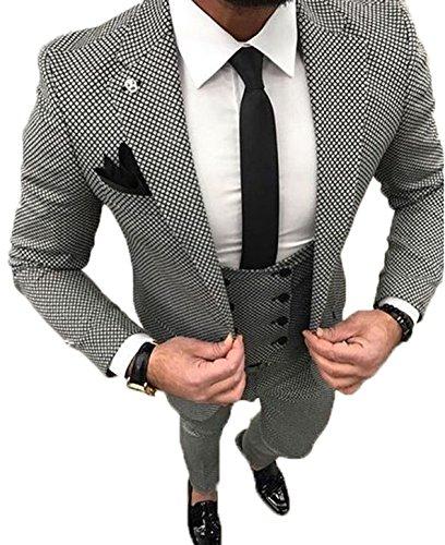 YSMO Herren Slim Schwarz Check 3 Stück Anzüge One Button Blazer Jacke & Weste & Hose Abendkleid -