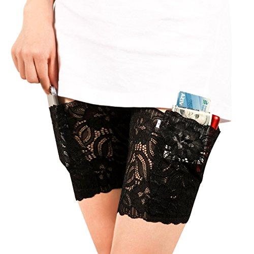 Xidan FM8 Elastisch Weibliches Nicht-Ausrutschen- und friktionsbessbeständiges, Lace mit dünnem Band, Bleibsilikon- Griff& sicherliche Tasche, Handtasche mit Strumpfband(Schwarz,M,2Stk)