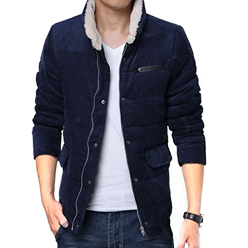 Haodasi Winter Thick Jacket solide Collar couleur Slim Fit Corduroy Coat Warm Outwear Navy