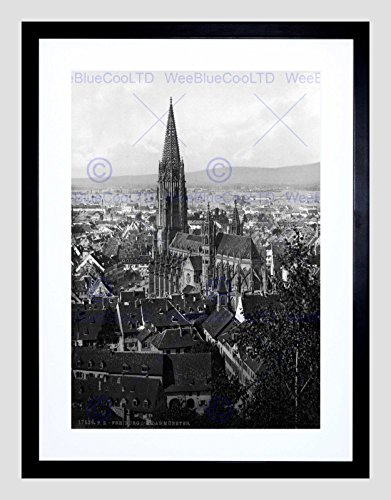 1895 Drucken (THE CATHEDRAL FREIBURG BADEN GERMANY 1895 OLD BW FRAMED ART PRINT MOUNT B12X1152)