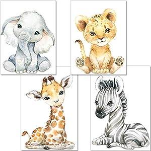 artpin® 4er Set Bilder Babyzimmer Deko Junge Mädchen – DIN A4 Poster Kinderzimmer Baby Dschungel Tiere – Safari Afrika…