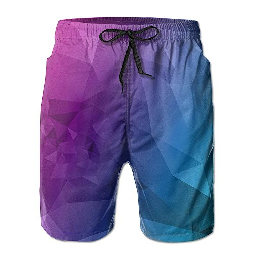 Jiger Geometry Drawstring Beach Shorts for Men BoysM