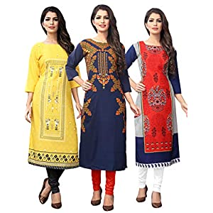 1 Stop Fashion Women's Multi-Coloured Crep Knee Long W Style Kurtas/Kurti (Pack of 3)