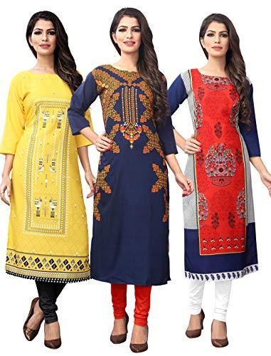 1 Stop Fashion Women's Multi-Coloured Crep Knee Long W Style Kurtas/Kurti (Pack of 3)