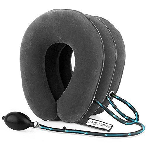 Trazione cervicale collo, hailicare cuscino di trazione gonfiabile regolabile con 3 strati di aria per alleviare il dolore al collo e alle spalle grigio