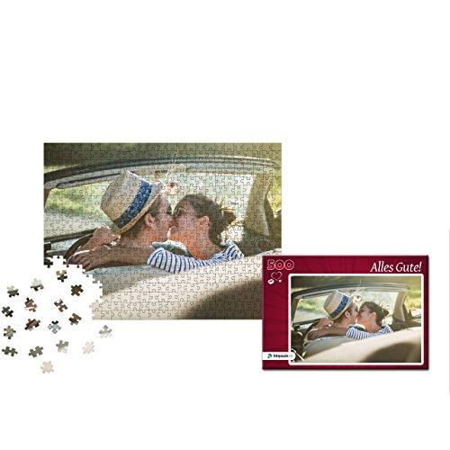 fotopuzzle.de Fotopuzzle 500 Teile Individuelles Puzzle mit eigenem Foto inkl. Puzzle-Schachtel mit eigenem Foto und Titel (Herzmuster Rot) - Foto Puzzle