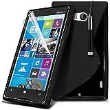 (Black) Nokia Lumia 930 individuell bestückt Schutz S line Hydro Wellen-Gel-Haut-Kasten-Abdeckung, Retractable Touch-Screen-Stift, Retractable Touch Screen Stylus Pen & LCD-Display Schutzfolie von Spyrox
