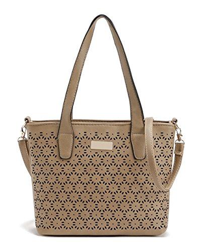 Keshi neuer Stil Damen Handtaschen, Hobo-Bags, Schultertaschen, Beutel, Beuteltaschen, Trend-Bags, Velours, Veloursleder, Wildleder, Tasche Light Braun