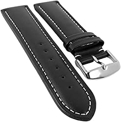 Organic Leather Replacement Watch Strap 18 mm - 28 mm | Black Calfskin with Contrast Stitching 20540S, Bridge Width: 24 mm