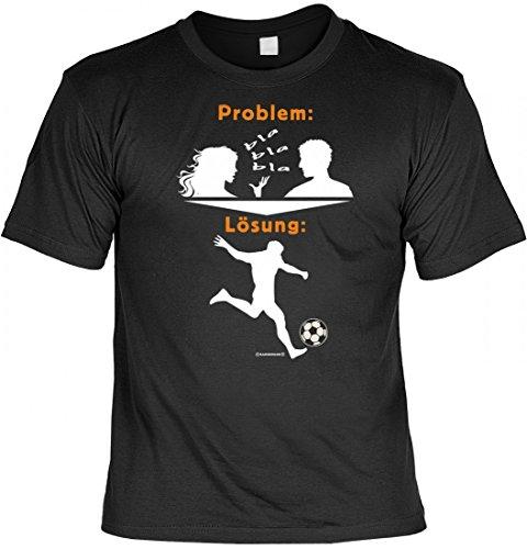 T-Shirt für Fussballer - Problem: Quasselnde Frau - Lösung: Fussball - Geschenk-Idee im Set mit lustiger Urkunde - Schwarz, Größe:XL