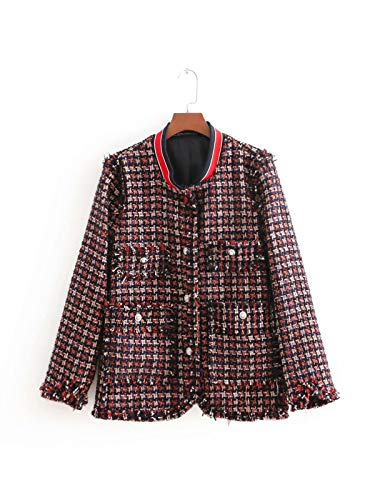 WJMM Damen Blazer Mit Wintermantel FrauenPlaid Tweed Jacke Lady Langarm Stehkragen Einreiher Taschen Herbst Jacken, M -