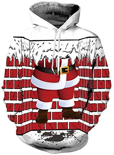 Rave on Friday 3D Hoody Jungen Sweatshirt Weihnachts Drawstring Casual Pullover Jumper Bekleidung für Familie mit Tasche M (Weihnachten Pullover Kinder)