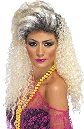 Fancy Ole - Damen Frauen Perücke 80er Jahre Krepp, Blond (Krepp-perlen)