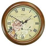 DW HCKK M&T Wanduhr aus Holz Retro Silent Lounge des H-B Alarm Clocks Wall Clock zu Alten Holz Montage Durchmesser von 35 cm (9 cm).
