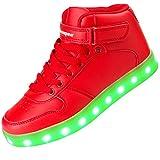 Shinmax Blue Star Pattern LED Schuhe 7 Farben USB-Lade Schuhe Leuchtschuhe Sneakers für Männer und Frauen zum Valentinstag Weihnachten Halloween mit CE-Zertifikat - size_name: 45, color_name: Rot-Hitops