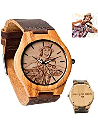 Reloj fotográfico Personalizado Personalizado para Hombres Relojes de Pulsera de Madera Grabados con Mensaje en la