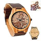 Personalisierte maßgeschneiderte hölzerne Uhr mit Foto oder Nachricht Double-Side Gravur für Personalisierte Geschenk.