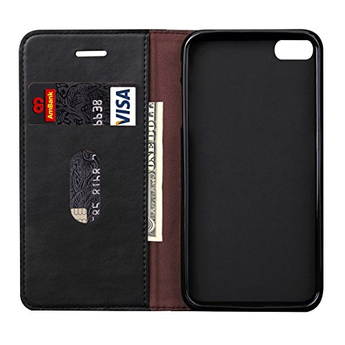 Wkae Case Cover Für iPhone 6 &6s Retro Crazy Horse Texture Magnetic Adsorption Horizontal Flip Ledertasche mit Kartensteckplatz und Halter &Wallet ( Color : Coffee ) schwarz