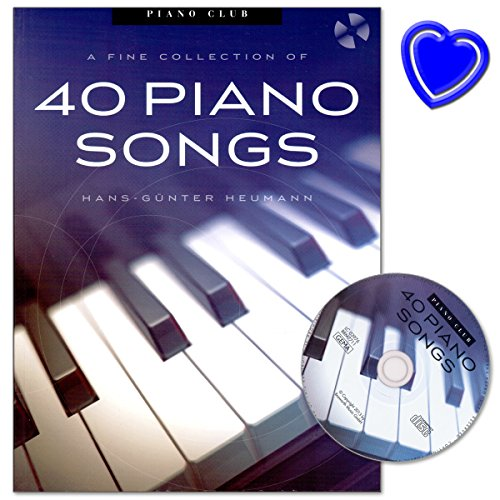 Piano Club A Fine Selection 40 Piano Songs - arrangements von Hans-Günter Heumann - Songbook für Klavier mit CD und bunter herzförmiger Notenklammer