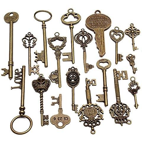 Mohoo 18Pcs Antique Vintage Old Look Skeleton Key Pendant Heart Bow Lock Steampunk UK