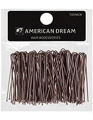 AMERICAN DREAM Pack of 100 x Haarklammern - braun - glatt - 2 inch/5 cm Länge, 1er Pack (1 x 60 g)