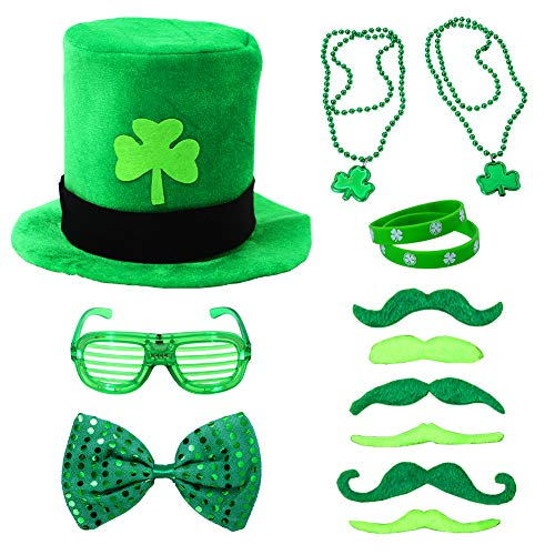 Twister.CK 13Pcs St. Patrick's Day Accessories Set Party Supplies with Shamrock Tattoos, Green Mustaches, Glasses, Bow Tie, Clover Necklace and Adult ()