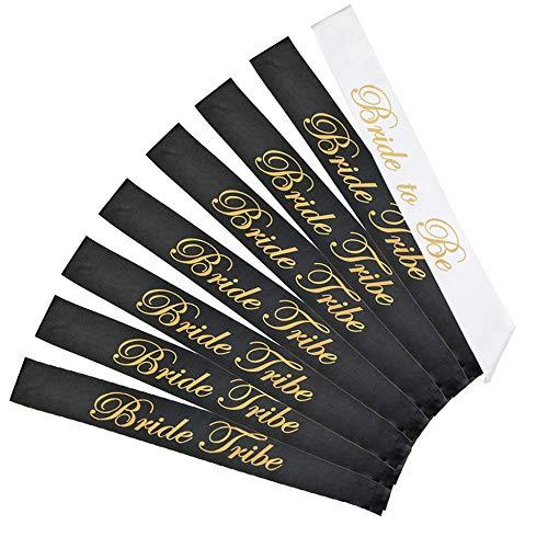 LABOTA 8 Stück Team Bride schärpe Set 6+1 'Bride to Be' und 'Bride Tribe' - Team Braut für Junggesellinnenabschied oder Hochzeit