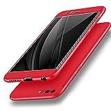 2ndSpring Huawei Honor 8 Hülle, 3 in 1 Ultra Dünner PC Harte Schutzhülle 360 Grad Hülle + Panzerglas Huawei Honor 8 Komplett Hülle Fullbody Case Cover Rot