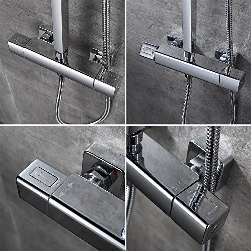 Homelody – Thermostat-Duschsystem mit Brausegarnitur, Regenbrause, eckig, Chrom - 6