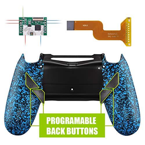 eXtremeRate DAWN Remap Kit Rimappatura Programmabile per PS4 Controller con Modding Chip&Cover Posteriore Riprogettato&4 Pulsanti Posteriori-JDM/040/050/055(Blu Antiscivolo)
