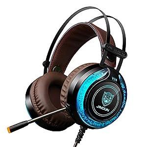 KARTELEI Gaming Headset 7.1 Virtual Bass Surround Noise Cancelling LED-Licht USB Kopfhörer für PC, Xbox One, PS4, Nnintedo Switch