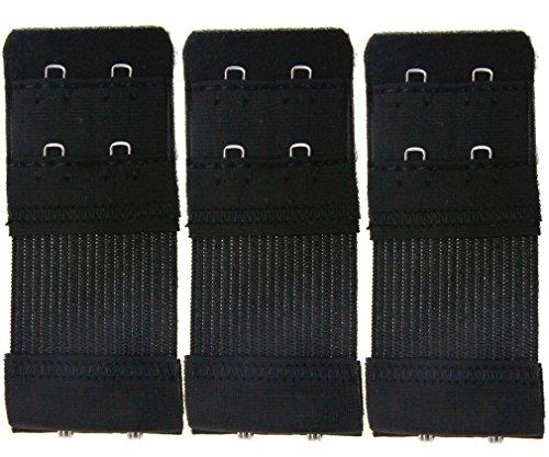 Preisvergleich Produktbild 3er SET BH-Verlängerung BH 2 Haken Unterwäsche Verschluss Erweiterung Schwarz