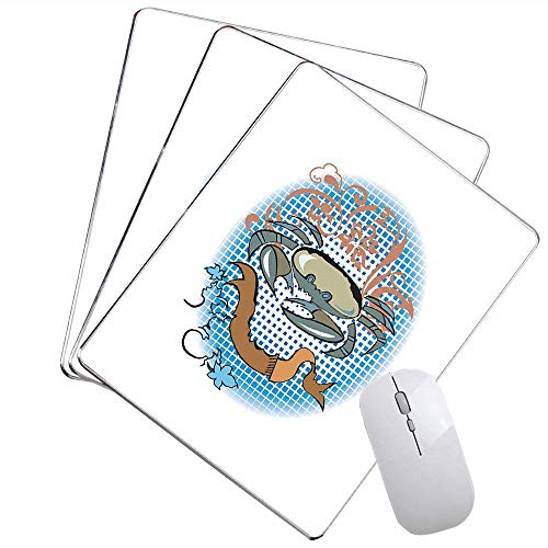 Krabben Büro Mauspad Krebs Zeichen Cartoon Tattoo Style Astrologische Thema mit floralen Details Horoskop angepasst Mauspad Multicolor,Gummimatte 11,8
