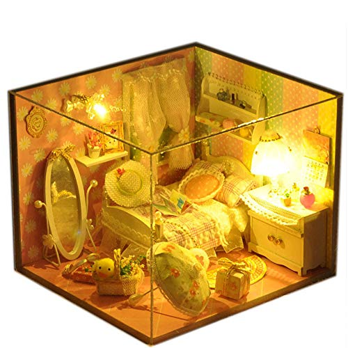Haus Kit Diy House Spring Creative handgefertigtes kleines Haus-Modell wird mit der Sprache des Lichts montiert. Geburtstagskind Mini Diorama Haus Renovierung DIY Dollhouse - Kreat ()