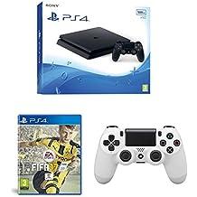 PlayStation 4 Slim (PS4) - Consola de 500 GB + FIFA 17 + Mando Dualshock V2 Glacier White