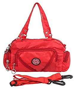 BEST DEAL Women's Fabric and Canvas Sling Bag (Red)