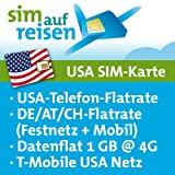USA Prepaid SIM-Karte T-Mobile Netz – Daten-Flat (1 GB @ 4G), USA-Flat, DE/AT/CH-Flat (Festnetz+Mobil)