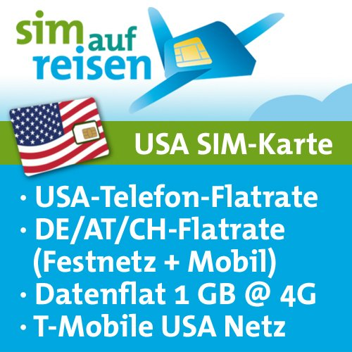 USA Prepaid SIM-Karte T-Mobile Netz – Daten-Flat (1 GB @ 4G), USA-Flat, DE/AT/CH-Flat (Festnetz+Mobil) (Tmobile Sim Iphone 4)