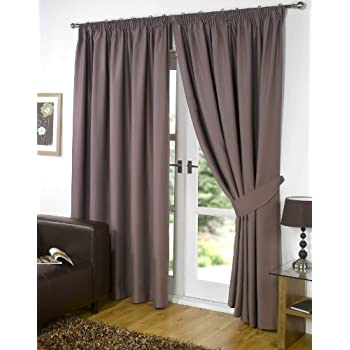"Pair of MINK 66"" Width x 54"" Drop , Supersoft Thermal BLACKOUT Curtains INCLUDING PAIR OF MATCHING TIE BACKS, 'Winter Warm but Summer Cool' by VICEROY BEDDING"