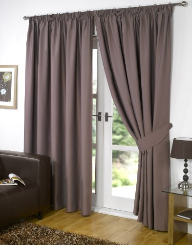 Viceroybedding Pair of MINK 46″ Width x 54″ Drop, Supersoft Thermal Blackout Curtains PENCIL PLEAT Readymade Bedroom Curtain Inc FREE Pair of Tie Backs, Winter Warm but Summer Cool