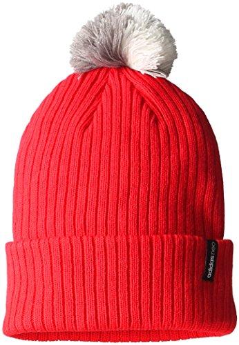 Adidas Women's Neo Pom Pom Beanie Hat Red White