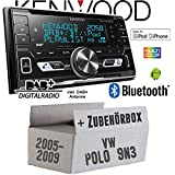 VW Polo 9N3 - Autoradio Radio Kenwood DPX-7100DAB - 2DIN Bluetooth DAB+ Digitalradio USB CD MP3 Einbauzubehör - Einbauset