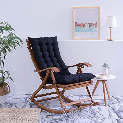 YEARLY Kissen für schaukelstuhl, Indoor Outdoor Sitzpolster Volltonfarbe Lounge Chaise Überfüllte Garten Stuhlauflage Mit Krawatten-schwarz 48x120cm(19x47inch) -
