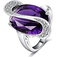 Unory (TM) Elegante ovale forma di taglio ametista del vero anello placcato platino di diamante simulate anelli costume per le donne CRI0053-B - Ovale Platino Anello