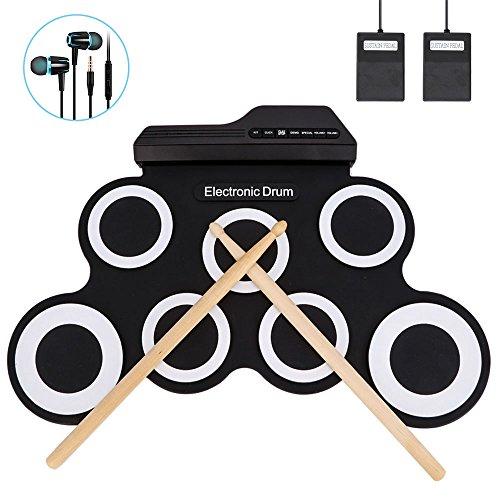 Jacksoo Portable Roll-Up Drum, elektronische Digital Drum Pad Kit Musikalische Praxis Instrument mit Fußpedalen Drum Sticks für Kinder Anfänger Kinder (nicht eingebauter Lautsprecher)