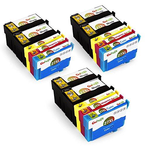 Gohepi 27 XL Compatibile Cartucce Epson 27XL Alta Capacità Compatibili per Epson WorkForce WF-3620 WF-7110 WF-7610 WF-7620 WF-3640 WF-7710 WF-7715 WF-7720 WF-7210 (6 Nero,3 Ciano,3 Magenta,3 Giallo)