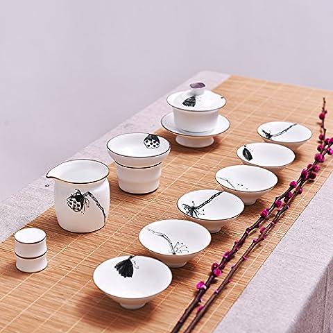 Blanc à thé en porcelaine Ensemble de bol peint à la main
