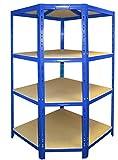Schwerlast Eckregal für 60 cm tiefe Regale | ✓ 176,5x90x90x60cm | ✓ Hochwertig blau pulverbeschichtet | ✓ 4 Böden je max. 175 kg Tragkraft | ✓ Werkstattregal Metallregal Regal Weitspannregal Kellerregal Archivregal
